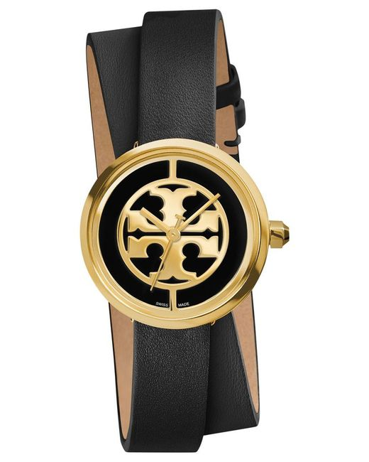 Tory Burch   Black 'reva' Logo Dial Double Wrap Leather Strap Watch   Lyst