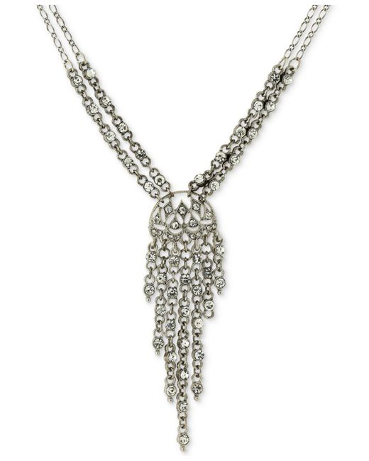 2028 - Metallic Silver-tone Multi-crystal Lariat Necklace - Lyst