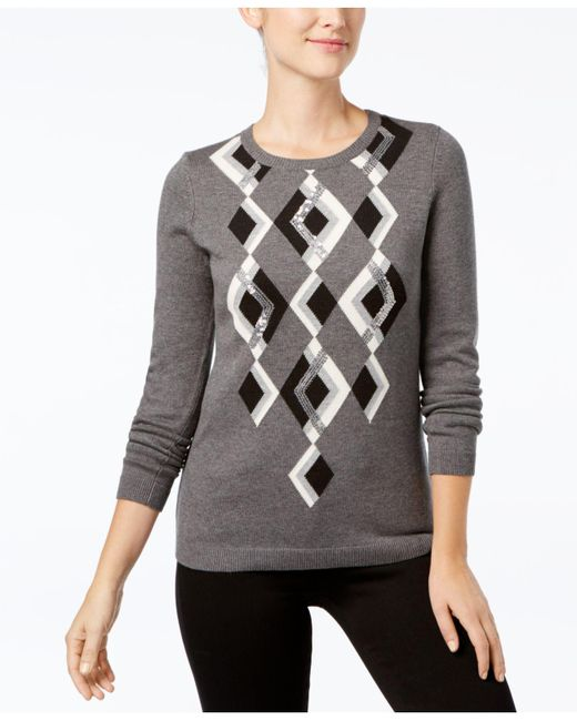Charter Club   Gray Argyle Sweater, Created For Macy's   Lyst