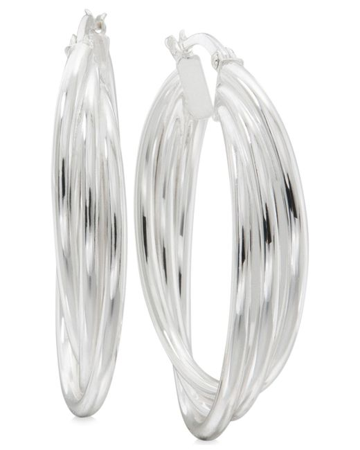 Macy's | Metallic Triple Band Hoop Earrings In Sterling Silver | Lyst