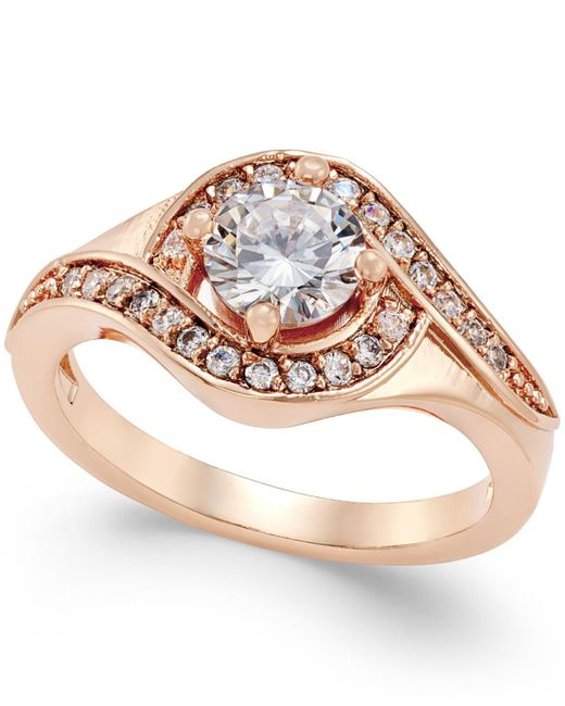 Charter Club | Red Rose Gold-tone Crystal Solitaire Twist Ring | Lyst