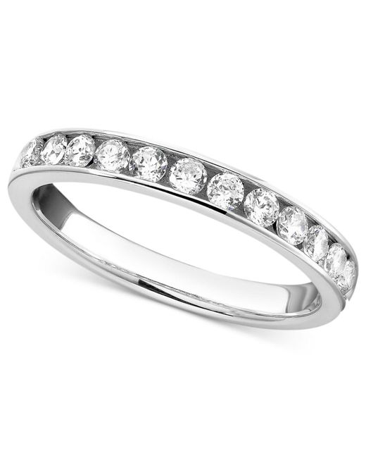 Macy's | Metallic Diamond Band Ring In 14k White Gold (1/2 Ct. T.w.) | Lyst