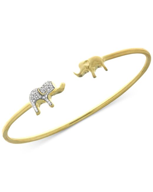 Wrapped in Love | Metallic Diamond Elephant Open Bangle Bracelet (1/6 Ct. T.w.) In Sterling Silver And 14k Gold-plate | Lyst