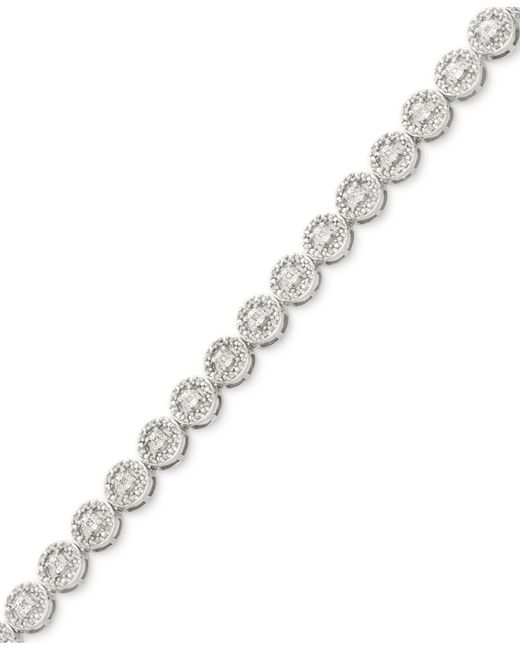 Macy's | Metallic Diamond Miracle Plate Tennis Bracelet (1/2 Ct. T.w.) In Sterling Silver | Lyst