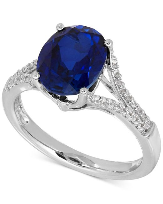 Macy's   Metallic Lab-created Sapphire (3-5/8 Ct. T.w.) And White Sapphire (1/5 Ct. T.w.) Ring In Sterling Silver   Lyst