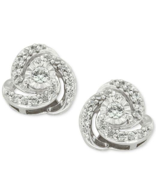 Macy's   Metallic Diamond Love Knot Stud Earrings (1/4 Ct. T.w.) In 10k White Gold   Lyst