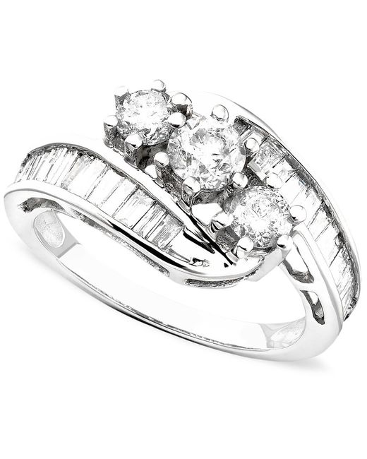 Macy's | Diamond Bypass Ring In 14k Gold Or White Gold (1-1/2 Ct. T.w.) | Lyst