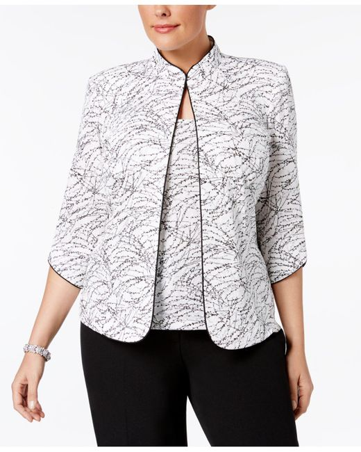 Alex Evenings - White Plus Size Printed Mandarin Jacket And Shell - Lyst