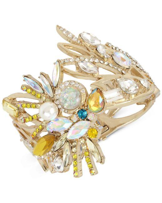 Betsey Johnson   Yellow Gold-tone Stone & Imitation Pearl Cockatoo Hinged Bracelet   Lyst