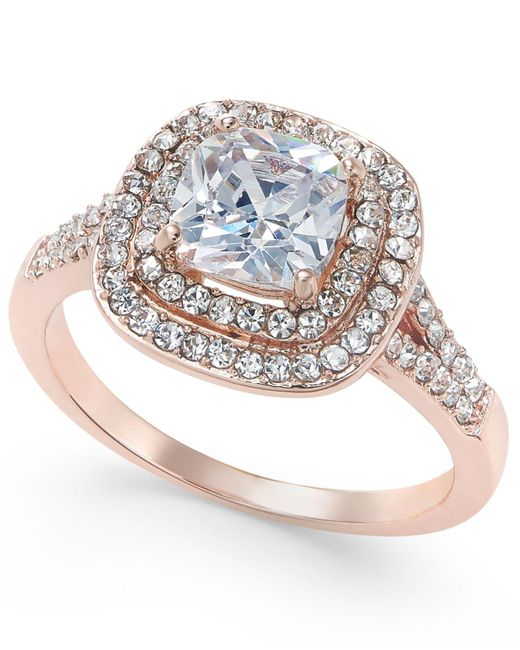 Charter Club - Metallic Rose Gold-tone Stone And Crystal Double Halo Statement Ring - Lyst