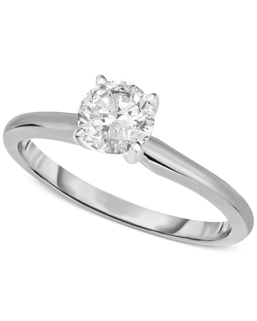 Macy's | Metallic Certified Diamond Engagement Ring In 14k White Gold (1 Ct. T.w.) | Lyst
