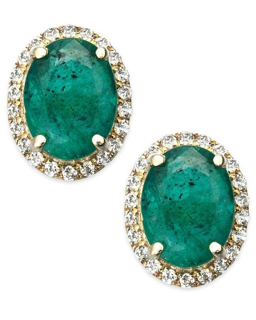 Macy's - Green Emerald And White Sapphire Oval Stud Earrings In 10k Gold (2-1/2 Ct. T.w.) - Lyst