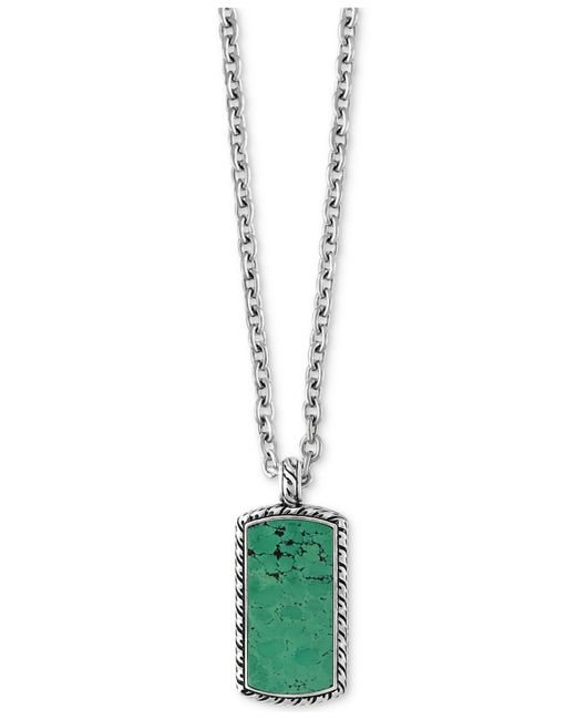 Effy Collection | Metallic Men's Manufactured Turquoise Dog Tag Pendant Necklace (9-3/8 Ct. T.w.) In Sterling Silver | Lyst