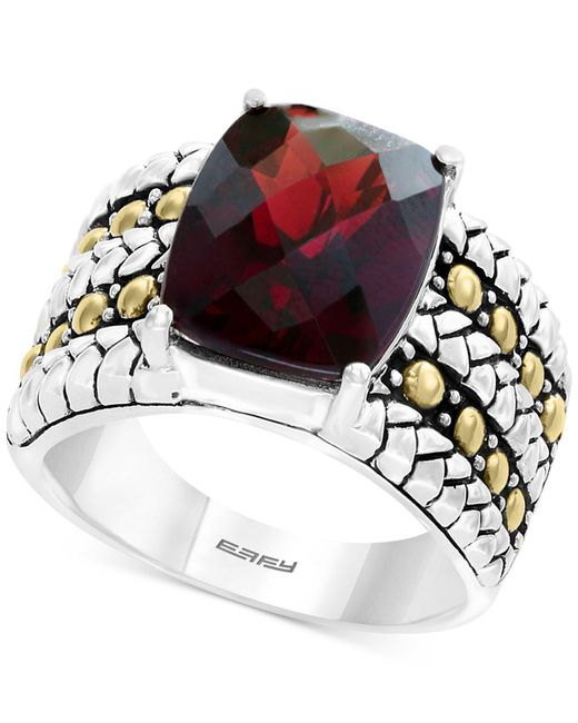 Effy Collection - Metallic Rhodolite Garnet Two-tone Statement Ring (6-3/8 Ct. T.w.) In Sterling Silver & 18k Gold - Lyst