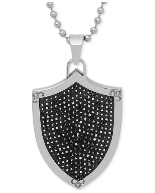 Macy's | Black Men's Diamond Shield Pendant Necklace In Stainless Steel And Rhodium Plate for Men | Lyst