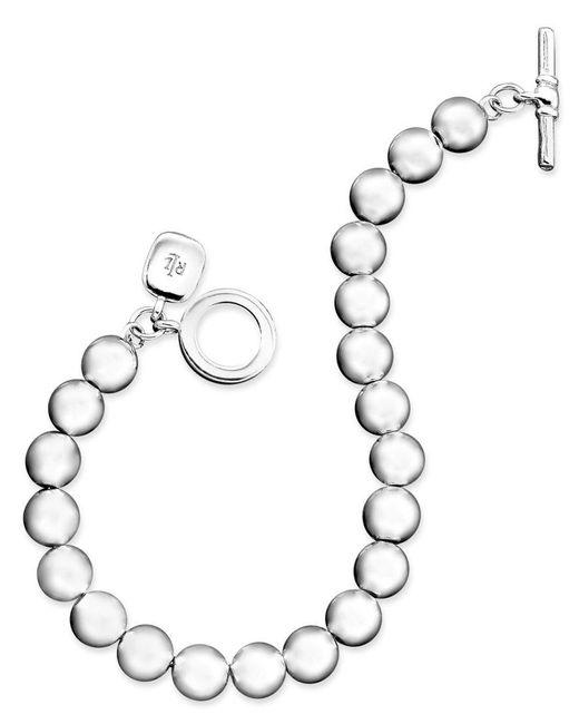 Lauren by Ralph Lauren | Gray Silver-tone Bead (8 Mm) Bracelet | Lyst