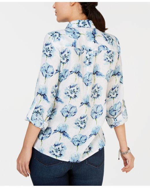 23a44619ab2 Lyst - Charter Club Plus Size Linen Floral Roll-tab Button-up Shirt ...