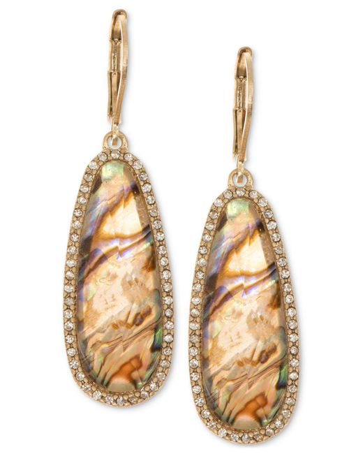 Lonna & Lilly | Metallic Gold-tone Iridescent Stone Drop Earrings | Lyst