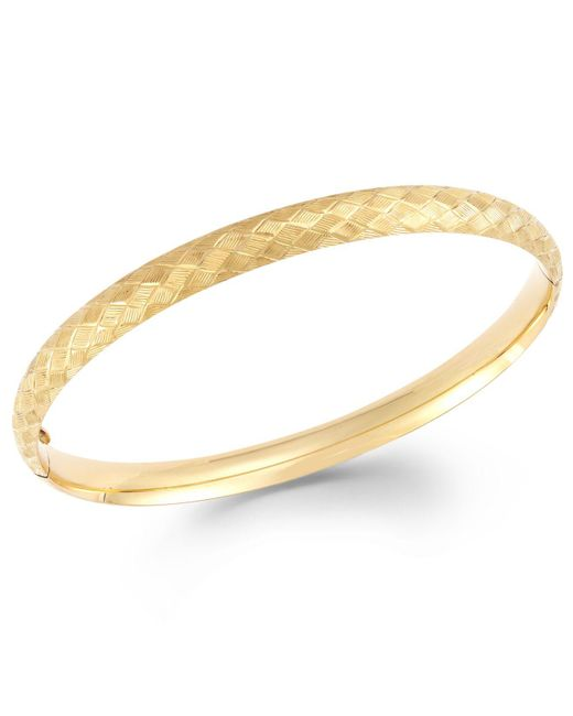 Macy's - Metallic Cross-stitch Bangle Bracelet In 14k Gold - Lyst
