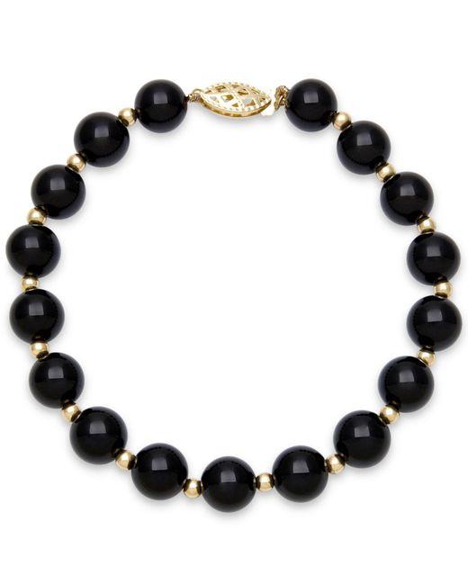 Macy's | Metallic Faceted Onyx Bead Bracelet (3mm) In 10k Gold | Lyst