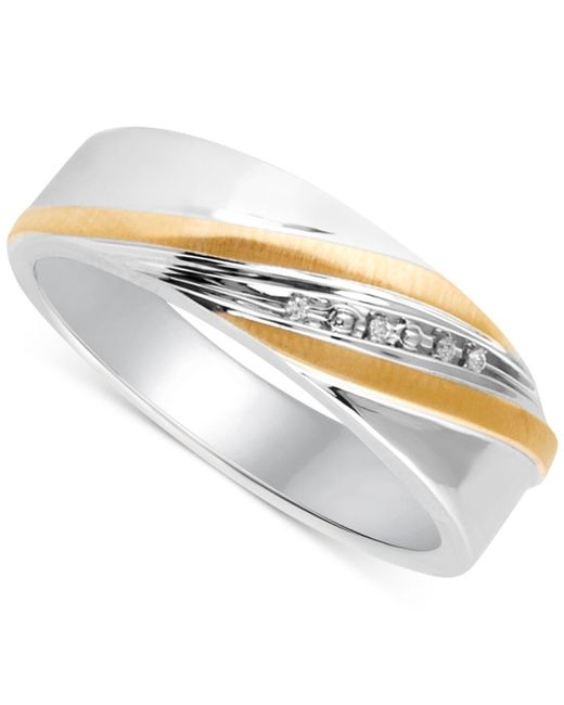 Beautiful Beginnings - Metallic Men's Diamond Accent Wedding Band In 14k Gold And Sterling Silver for Men - Lyst