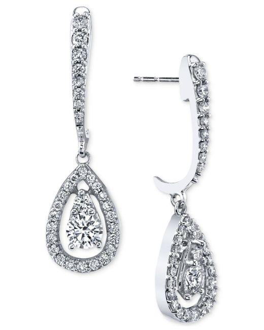 Macy's | Multicolor Diamond Orbital Teardrop Drop Earrings (1 Ct. T.w.) In 14k White Gold | Lyst