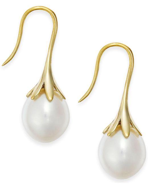 Macy's - Metallic Cultured Freshwater Pearl Drop Earrings 14k White Or Yellow Gold - Lyst