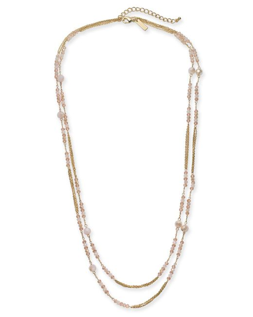 """INC International Concepts - Pink I.n.c. Gold-tone Beaded Double Long Layer Necklace, 60"""" + 3"""" Extender, Created For Macy's - Lyst"""