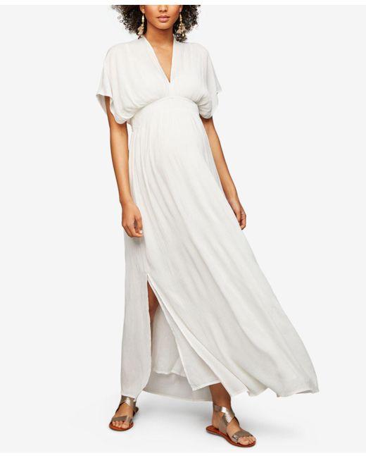 Ella Moss - White Maternity V-neck Maxi Dress - Lyst