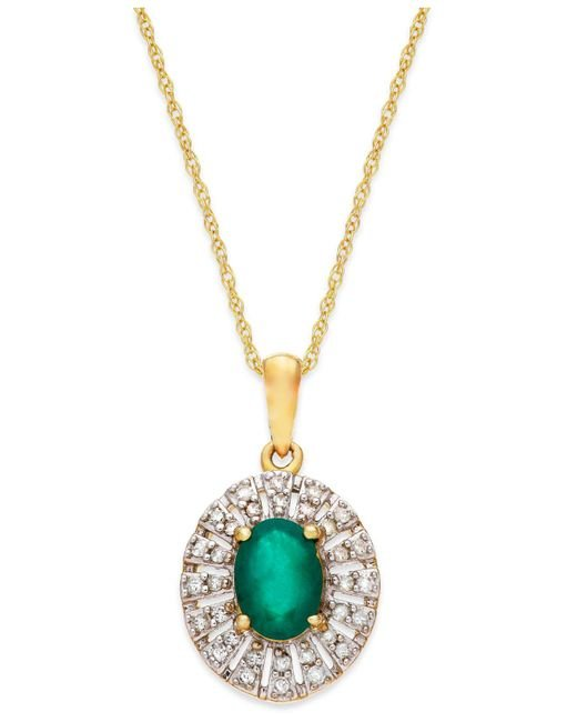 Macy's - Green Emerald (9/10 Ct. T.w.) And Diamond (1/8 Ct. T.w.) Pendant Necklace In 14k Gold - Lyst