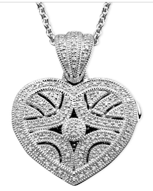 Macy's - Metallic Sterling Silver Pendant, Diamond Heart Locket (1/3 Ct. T.w.) - Lyst