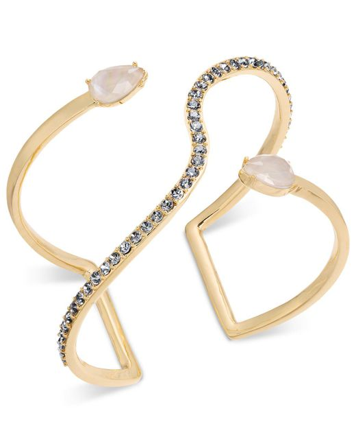 INC International Concepts - Metallic I.n.c. Gold-tone Crystal & Imitation Pearl Open Cuff Bracelet, Created For Macy's - Lyst