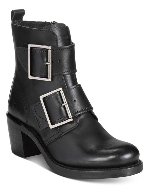 Frye | Black Women's Sabrina Double Buckle Moto Booties | Lyst