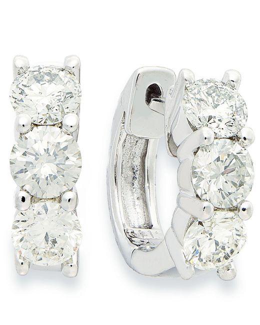 Macy's - Metallic Diamond Hoop Earrings In 14k White Gold (1-1/2 Ct. T.w.) - Lyst