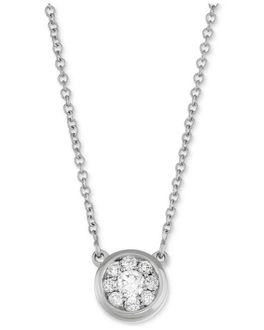 Macy's - Metallic Diamond Cluster Pendant Necklace (1/4 Ct. T.w.) In 14k White Gold - Lyst