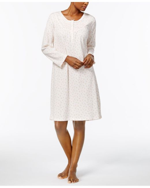 Miss Elaine | White Rosebud-print Knit Nightgown | Lyst