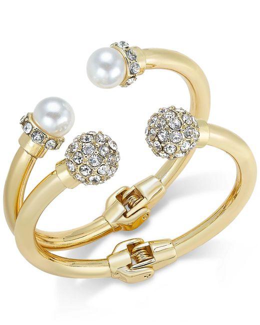 INC International Concepts - Pink Imitation Pearl And Crystal Fireball Hinge Bracelet Set - Lyst