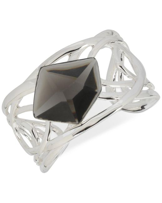 Robert Lee Morris   Metallic Silver-tone Black Stone Sculptural Cuff Bracelet   Lyst