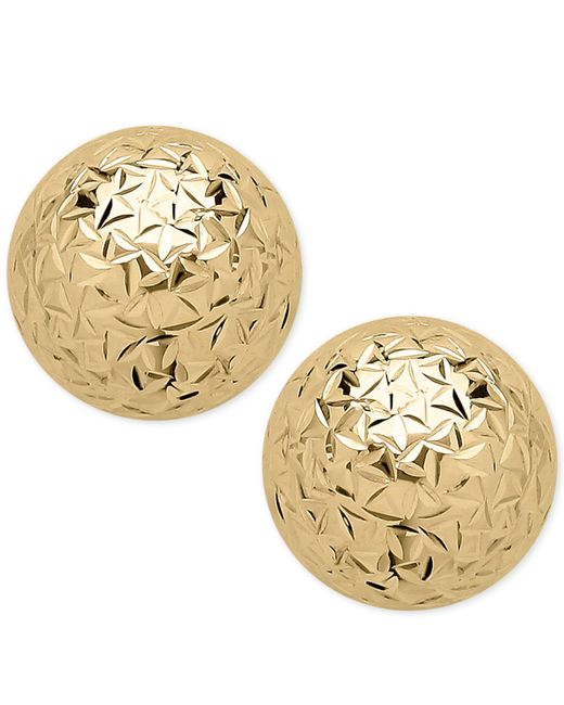 Macy's - Metallic Crystal-cut Ball Stud Earrings In 14k Gold - Lyst