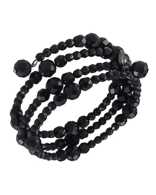 Carolee - Black Bracelet, Jet Bead Three Row Stretch - Lyst
