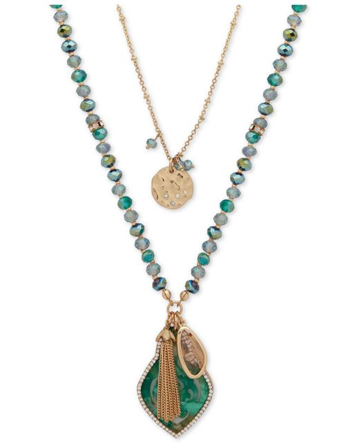 "Lonna & Lilly - Green Gold-tone Pavé, Bead & Chain Tassel 2-in-1 Pendant Necklace, 30""/34"" + 3"" Extender - Lyst"