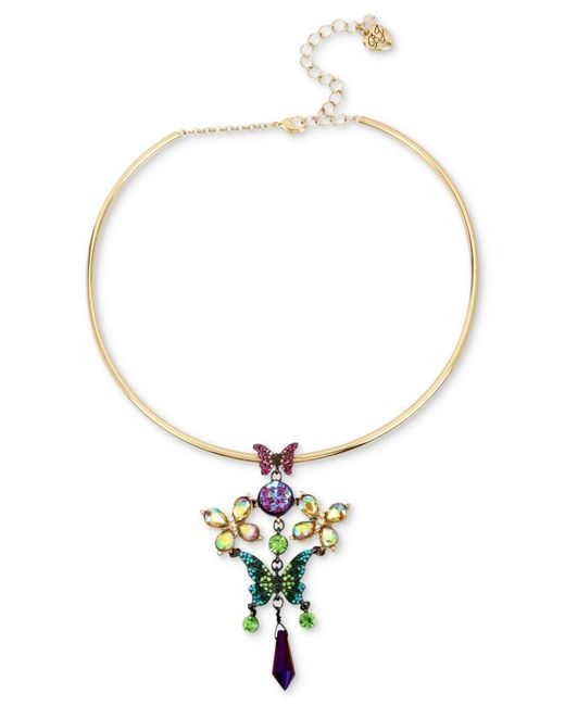 Betsey Johnson | Metallic Two-tone Stone & Crystal Butterfly Wire Pendant Necklace | Lyst
