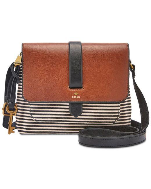 Fossil - Kinley Small Crossbody Handbag Black Stripe - Lyst