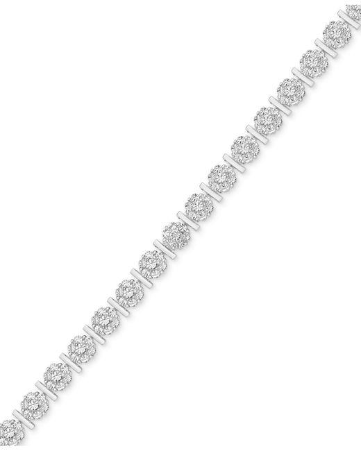 Macy's - Metallic Diamond Accent Flower Link Bracelet In Silver-plate - Lyst