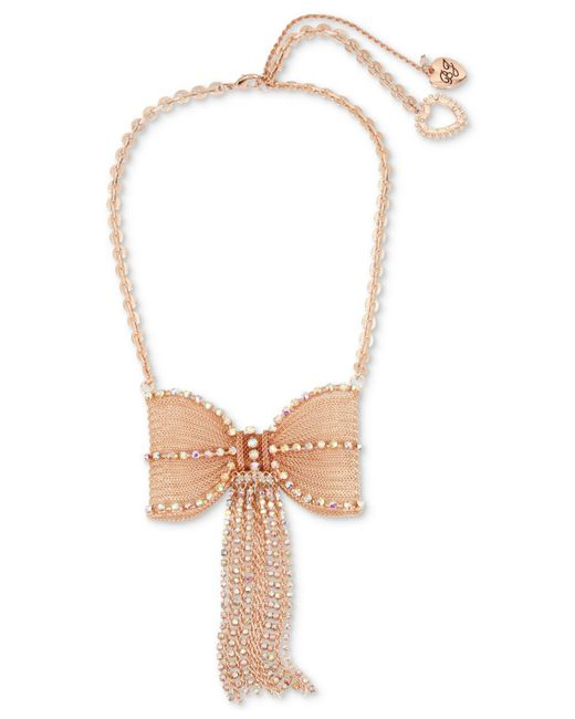 Betsey Johnson | Pink Rose Gold-tone Crystal Mesh Bow Statement Necklace | Lyst