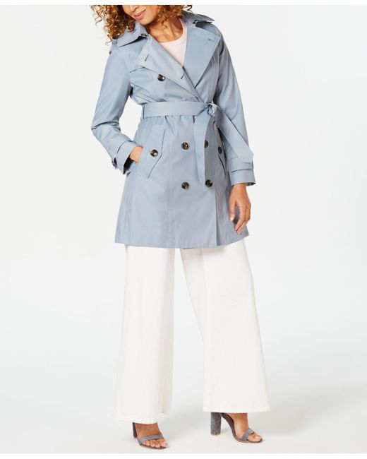 1e0a663b3a9 Lyst - London Fog Belted Double-breasted Trench Coat in Blue