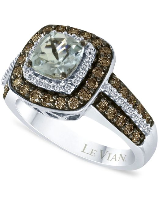 Le Vian | Aquamarine (3/4 Ct. T.w.) And Chocolate Diamonds® (3/4 Ct. T.w.) In 14k White Gold | Lyst