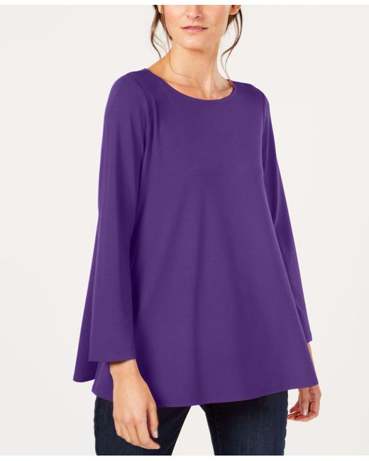 Eileen Fisher - Multicolor Stretch Jersey Ballet-neck Swing Tunic, Created For Macy's - Lyst