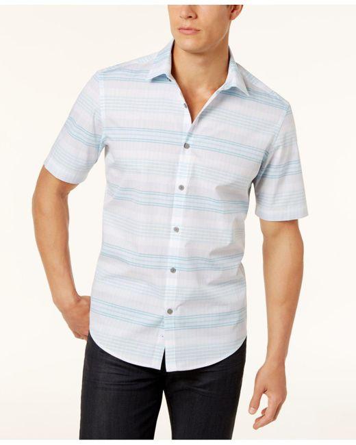 Alfani   White Men's Parktron Stripe Shirt for Men   Lyst
