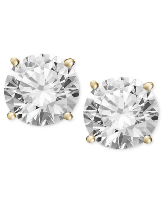 Macy's | Metallic Diamond Stud Earrings (1/2 Ct. T.w.) In 14k White Or Yellow Gold | Lyst